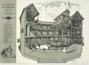 Conjectural reconstruction of the Globe Theatre: C. Walter Hodges (Folger Shakespeare Library)