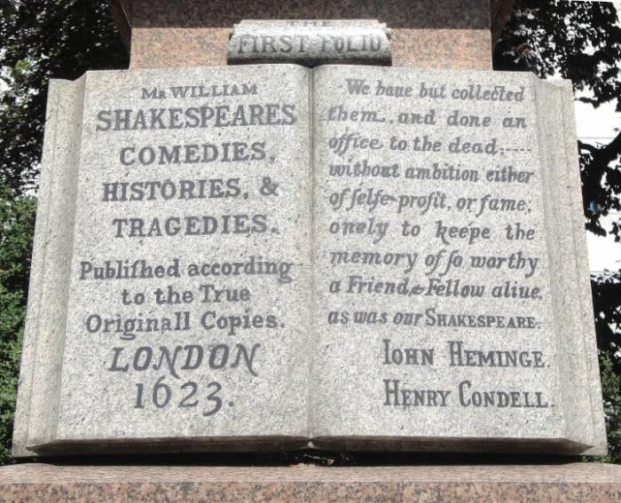 Memorial to John Heminge and Henry Condell. Sculptor: Charles John Allen. Designer: Charles Clement Walker.