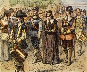Mary Dyer led to execution on Boston Common, 1 June 1660. Color engraving. Copyprint Nineteenth Century. Library of Congress. Courtesy of The Granger Collection, New York